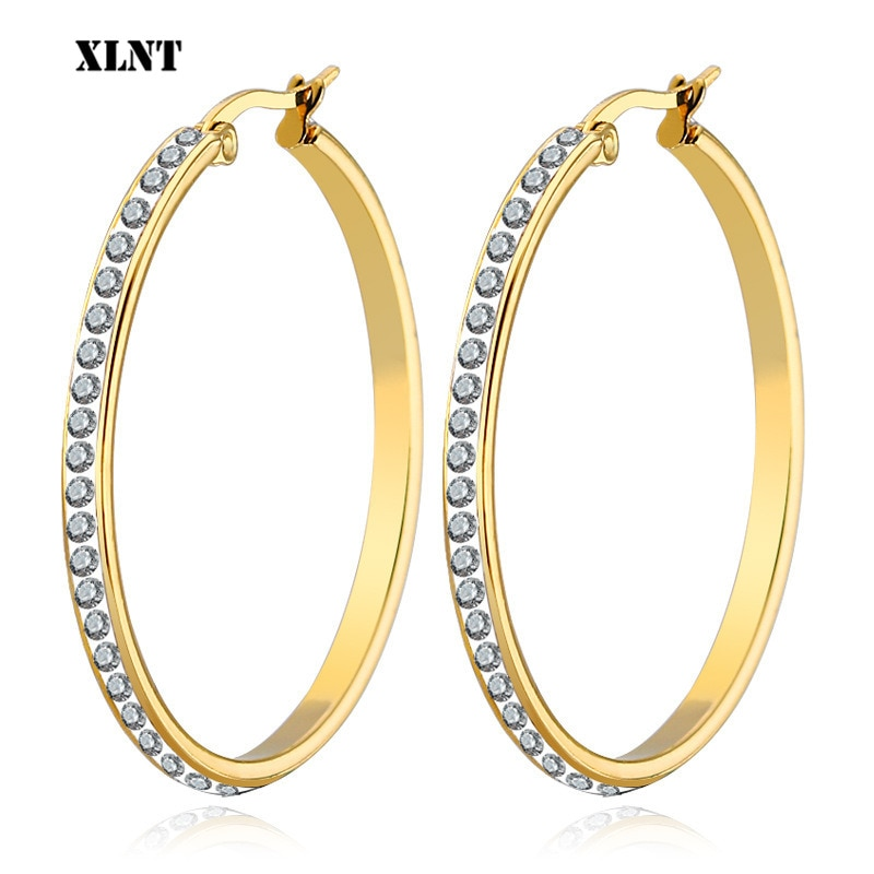 Xlnt 2019 moda hoop brincos com strass círculo brincos simples círculo grande ouro cor laço brincos para mulher