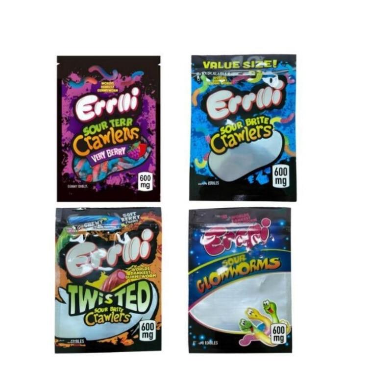 2021 candy bag Gummi worm Errlli 600mg gummy brite Sour terp crawlers Very berry Edibles Packaging mylar bags