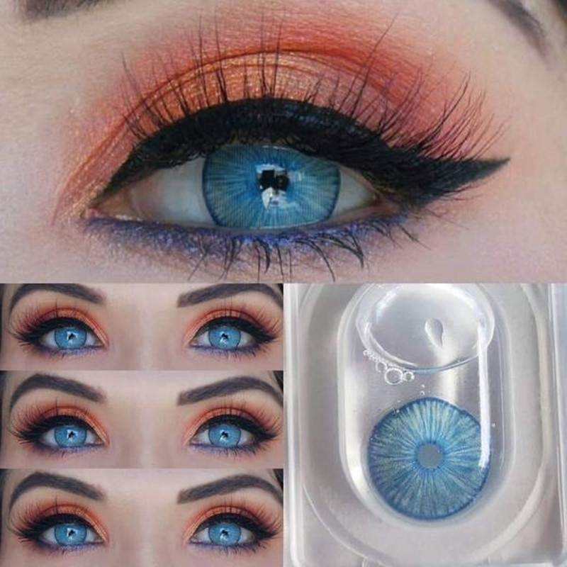 Hot 2pcs/Pair New York Blue Cosmetic contact lenses Colored lenses for eyes Contacts Lenses Color contact lens Natural pupil