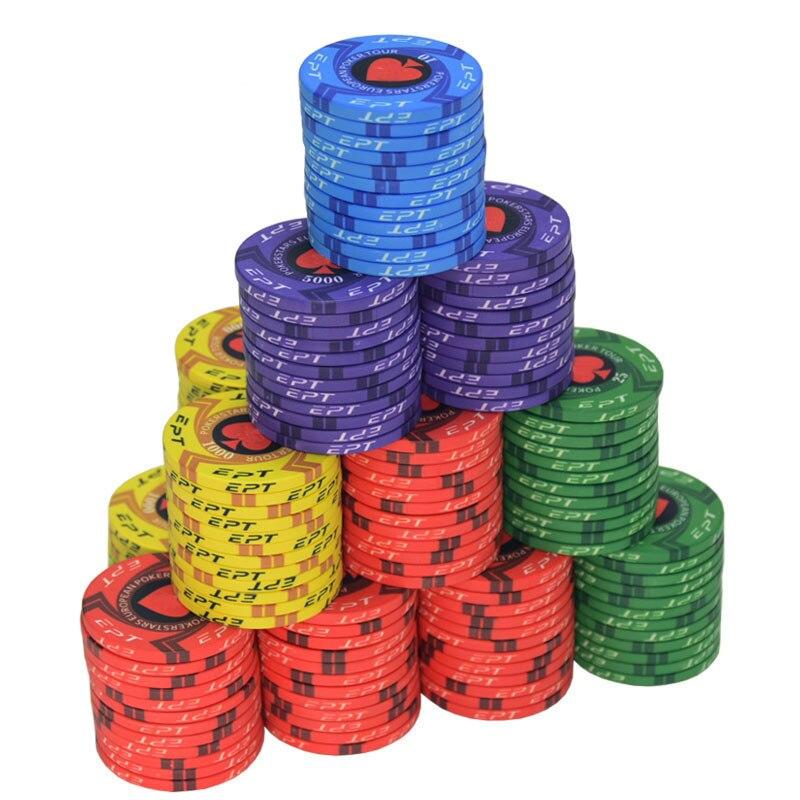 New  EPT Ceramic Texas Poker Chips Professional Casino European Poker Chips Set 10pcs/Lot Dropshipping