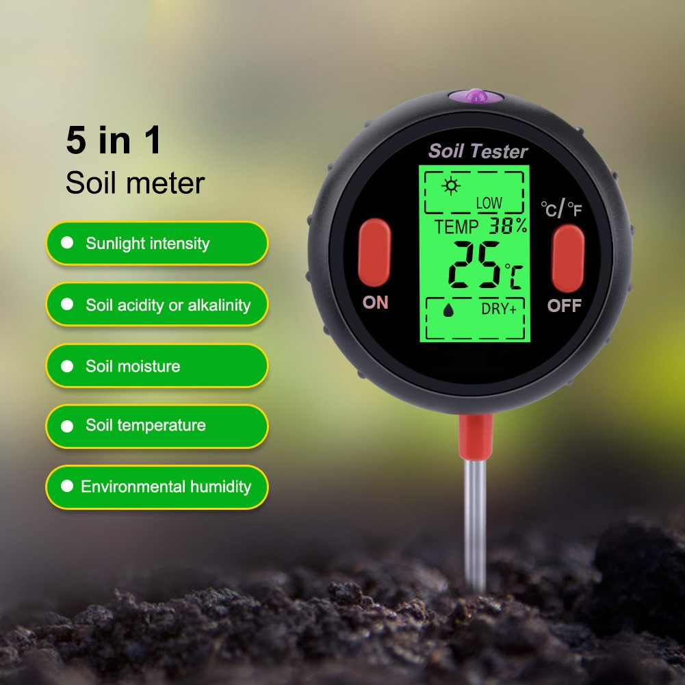 5-1 Soil Tester (temperature/Ambient Humidity/Illuminance/PH/Soil Moisture) Soil Measurement Analysis Tools Garden Plants Flower