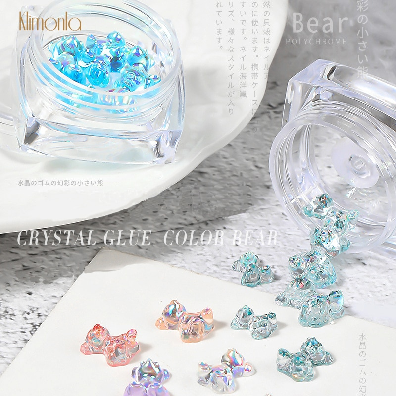 1 caixa de arte do prego 3d strass cristal cola mix tamanhos unhas decorações dicas 6 pçs/caixa diy decoração manicure urso forma mix 5 caixa