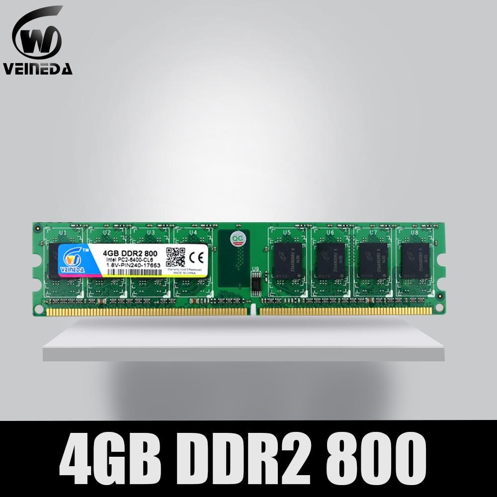 VEINEDA Memoria Ram ddr2 4 gb 800 pc2-6400 Compatible ddr2 4 gb 667 PC5300 para Intel AMD Mobo