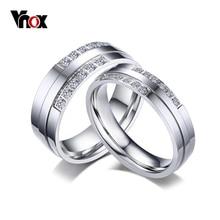 Vnox anneaux de mariage pour femmes hommes mode couleur CZ pierre Alliance romantique pour toujours amour promesse bague Bijoux