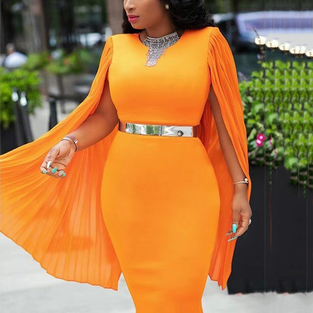 Elegant African Dresses Womens Bodycon Batwing Sleeve High Waist Knee Length Sexy Evening Night Party Club Clothes Dresses New