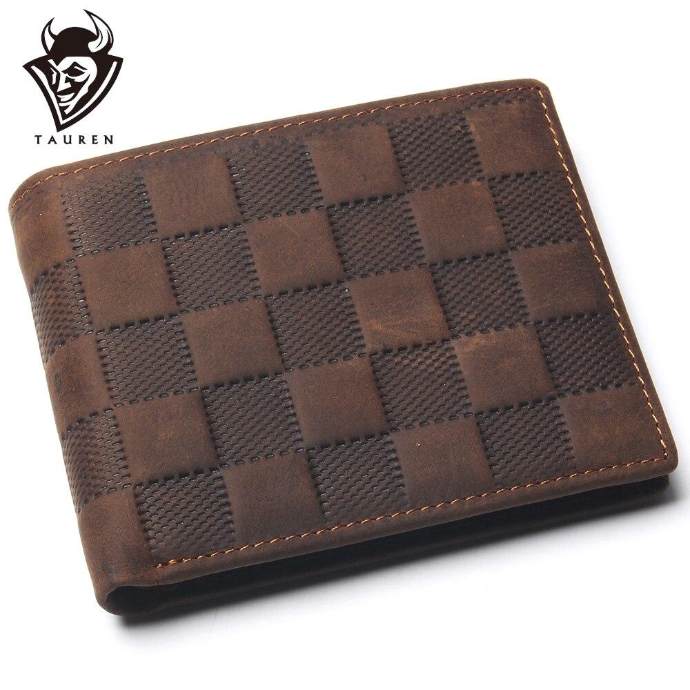 Crazy Horse, billetera de celosía de cuero de capa superior para hombres, cuero Real de lujo y diseño clásico, billetera pequeña para hombres