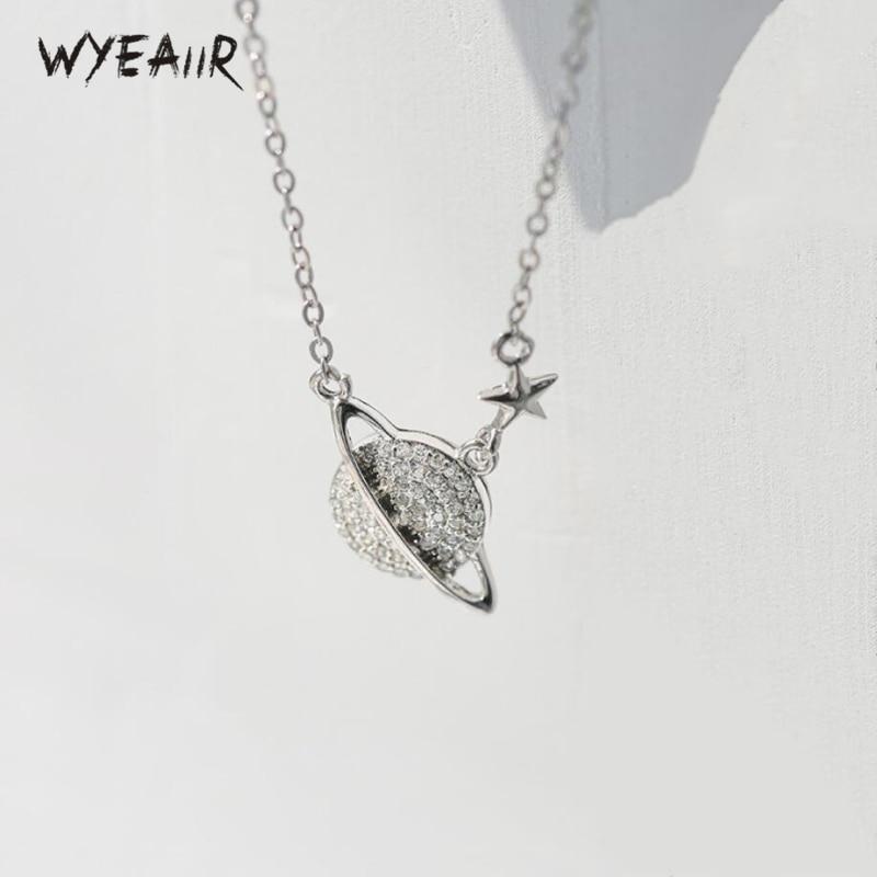 WYEAIIR creativo Original literaria planeta estrella de exquisita 925 de plata esterlina Cadena de clavícula collar femenino