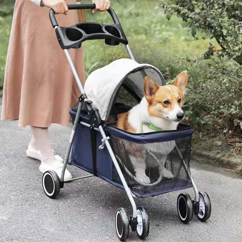 الفاخرة الحيوانات الأليفة القط عربة الطفل عربة الوليد طوي 4 عجلات صدمة امتصاص عربة الكلب الناقل الناقل و Raincover هدية