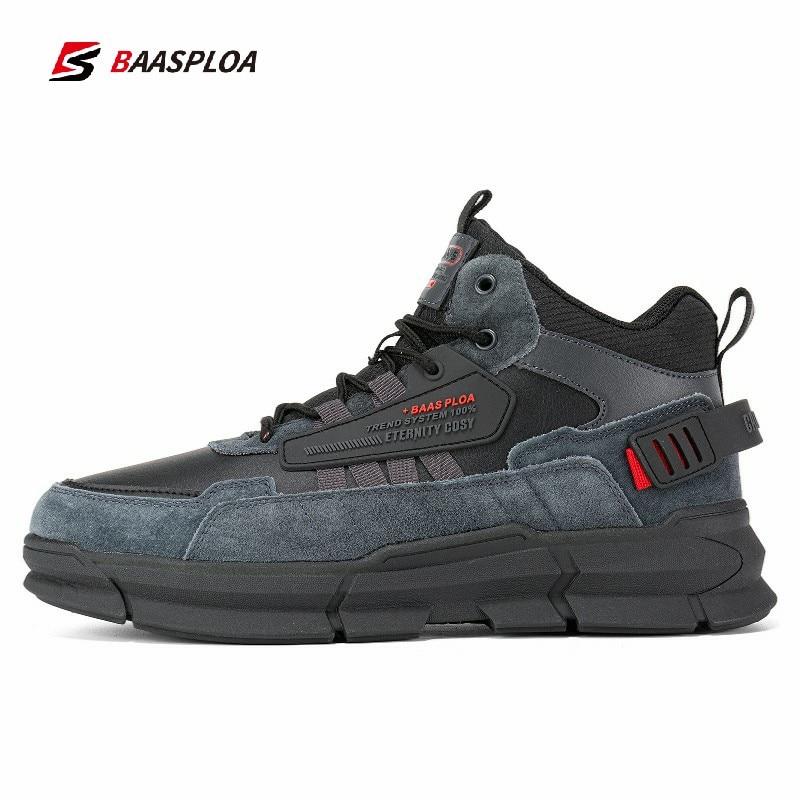 Baasploa Winter Men Leather Comfortable Cotton Shoes Waterproof Warm Outdoor Sneakers Non-slip Wear-
