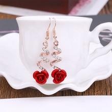 Chaude 2020 nouvelle mode Fine excellente bijoux strass couleur or Spirally Roses boucles doreilles pour femmes dames cadeau