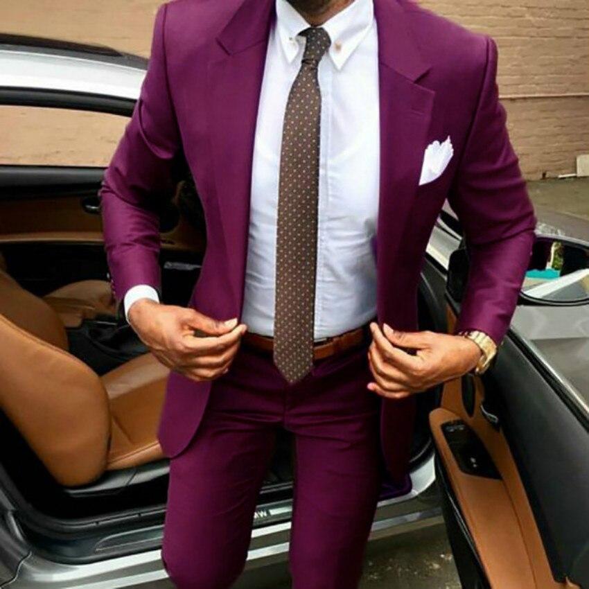 Mens Suit Coats 2 Pieces Slim Fit Casual Notched Lapel V Neck Tuxedo for Wedding Groomsmen Party Suits Men 2019 (Blazer+Pants)