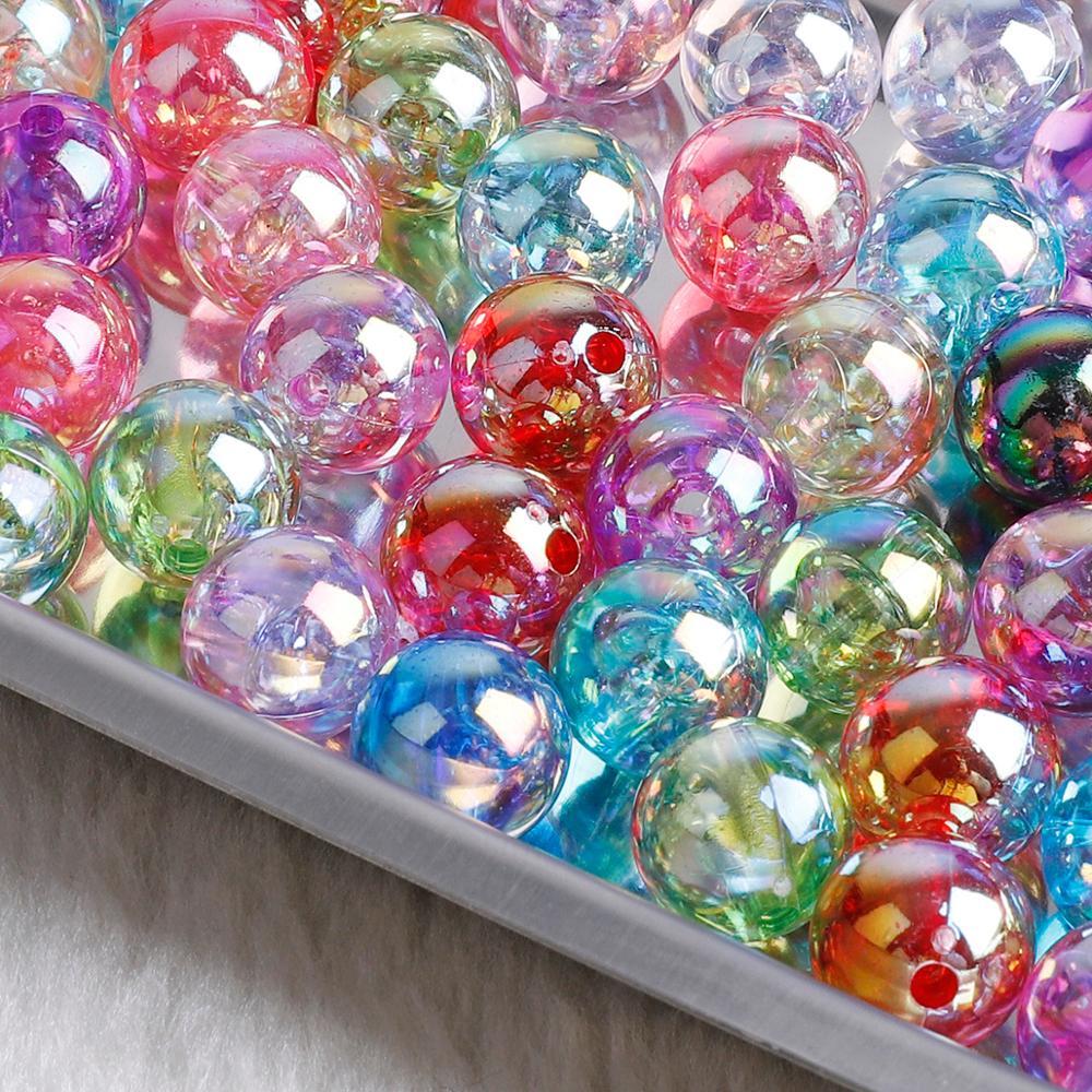 50-100 шт. двухцветные радужные акриловые бусины 6, 8, 10 мм, круглые свободные бусины для рукоделия, украшение для альбома