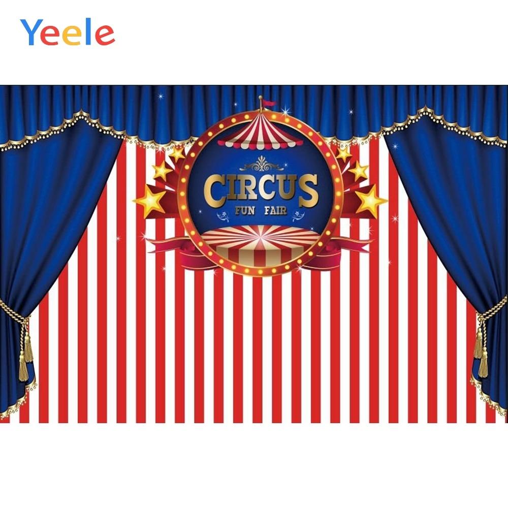 Telón de fondo de fiesta de circo Yeele fondo de fotografía de cumpleaños de bebé globo de rayas azul para estudio fotográfico de vinilo