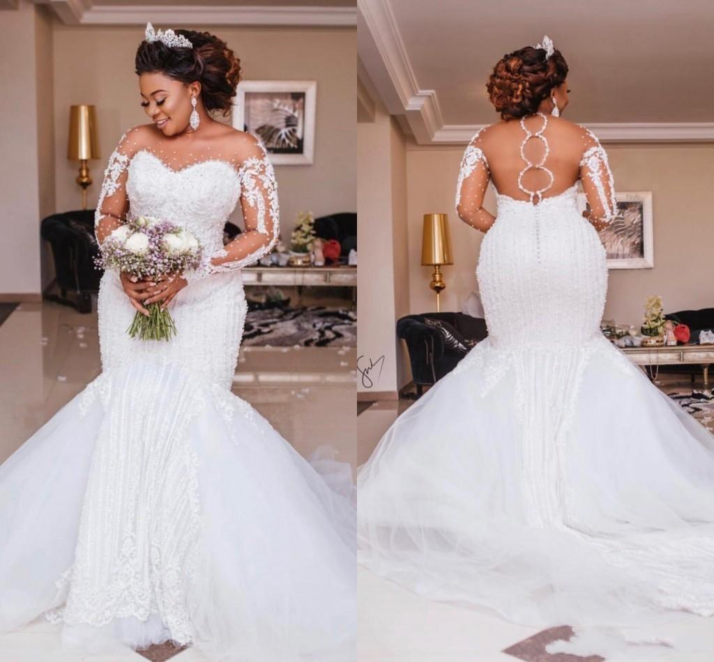 Роскошные свадебные платья с юбкой-годе, прозрачные женские платья с длинным рукавом и вырезом на спине, свадебные платья