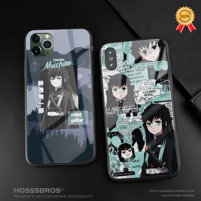 Muichiro tokito kimetsu não yaiba anime macio silicone vidro caso do telefone capa escudo para iphone se 6 s 7 8 plus x xr xs 11 pro max