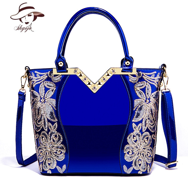 2020 Patent Leather Shoulder Bag Female Evening Party Bags Brand Designer Handbags Large Capacity Women Sequined Cross Body Tote
