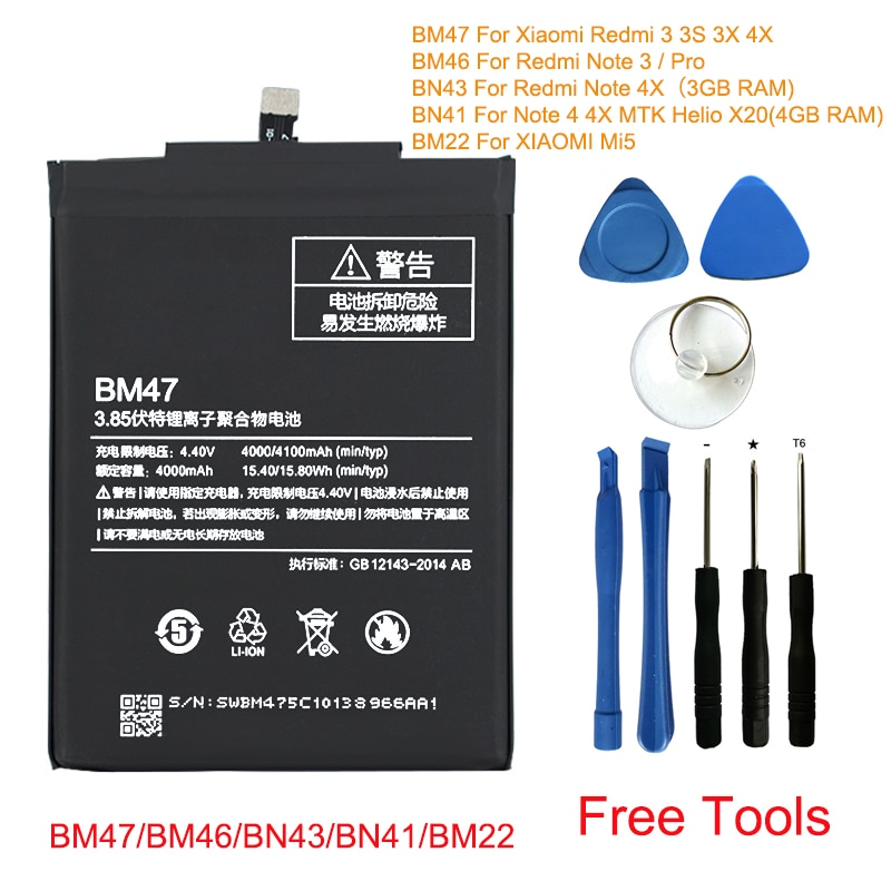 Original Phone Battery BM47 For Xiaomi Redmi 3 3S 3X 4X Mi5 Note 3 Pro 4 4x BM46 BN43 BN41 BM22 Replacement Batteries Free Tools
