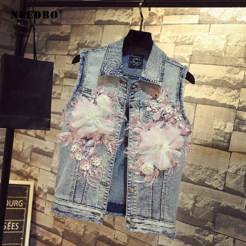 NEEDBO джинсовая куртка, женская повседневная куртка без рукавов, Женская куртка с вышивкой, женская джинсовая куртка с цветочным принтом, лет...