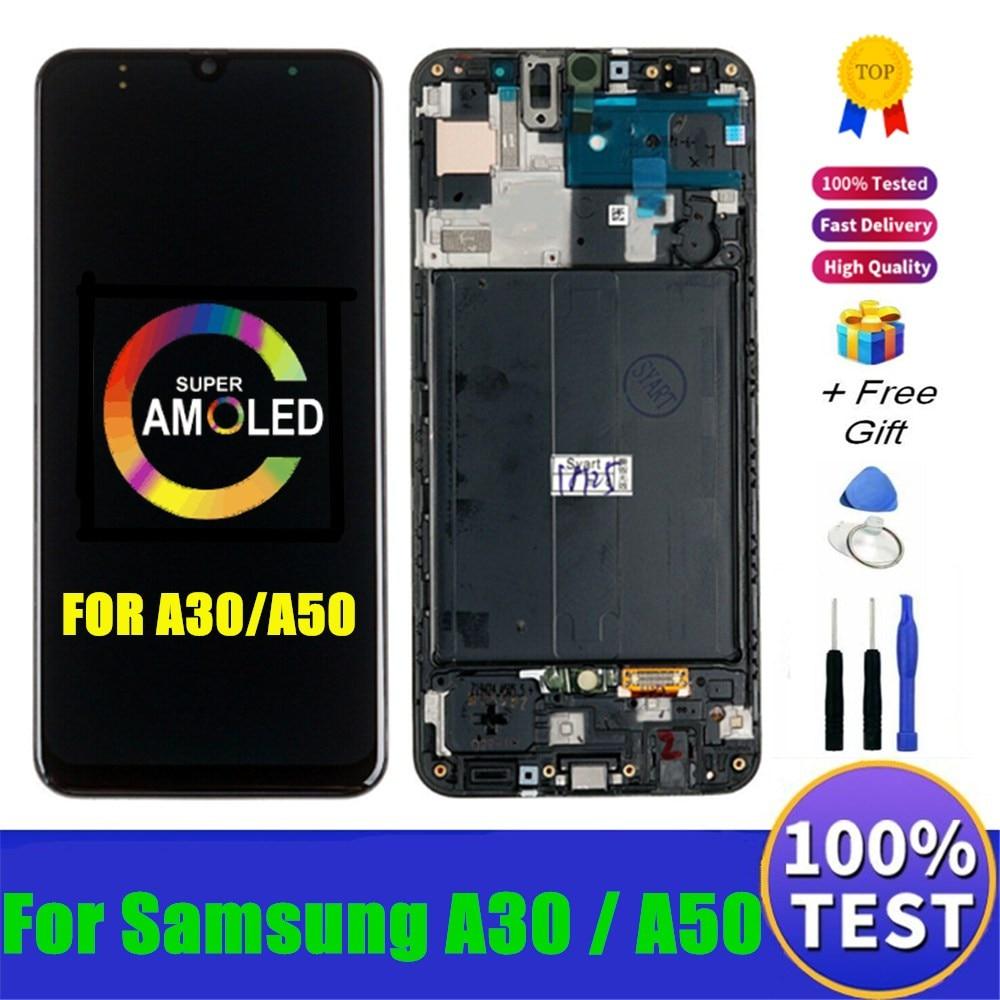 Süper AMOLED LCD ekran Samsung A30 A50 A505F/DS A505F LCD ekran dokunmatik ekran Digitizer meclisi Samsung galaxy A50