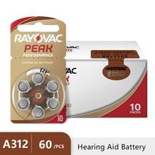 60 pcs Hearing Aid Batteries 312 A312 312A ZA312 PR41 S312 Rayovac Peak Zinc Air Battery for BTE Hearing aids