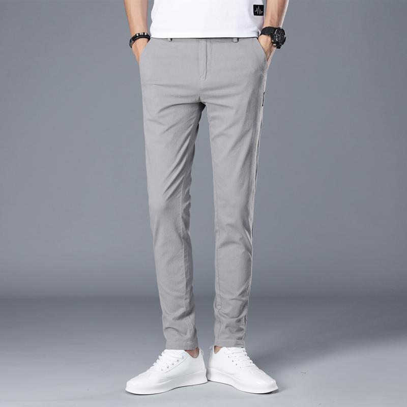 2020 nouvelle marque hommes pantalons décontracté hommes daffaires hommes pantalons classiques mi-poids droit pleine longueur mode respirant pantalon