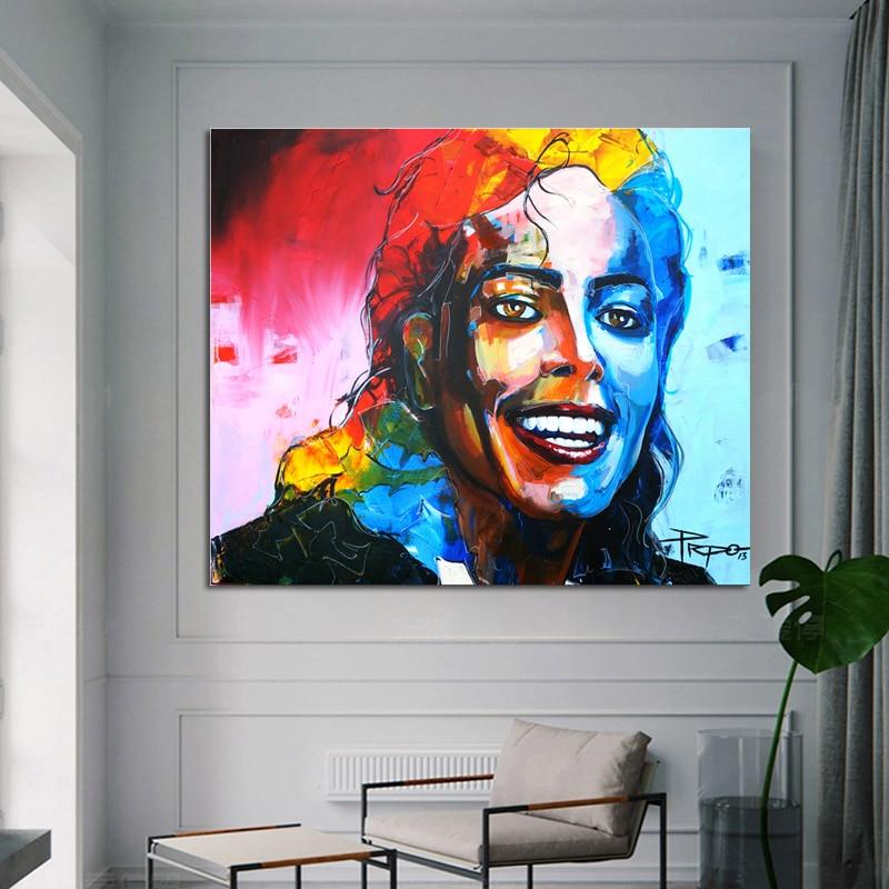 Pintura abstracta colorida de Michael Jackson Retrato moderno, pintura en lienzo, cuadro artístico de pared para póster para el salón, decoración de Cudros