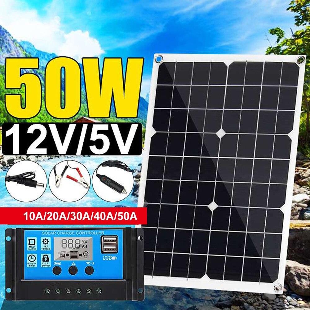 جديد 50 واط 12 فولت/5 فولت لوحة شمسية من السيليكون المزدوج الناتج USB الشمسية البطارية شاحن مع 10/20/30A/40A/50A MPPT الشمسية جهاز التحكم في الشحن