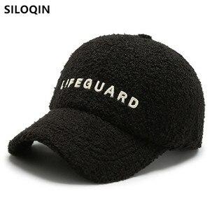 SILOQIN Adjustable Size Fashion Trendy ins Hip-Hop Hat Women's Winter Baseball Cap Lamb Plush Warm Embroidery Letter Sports Caps