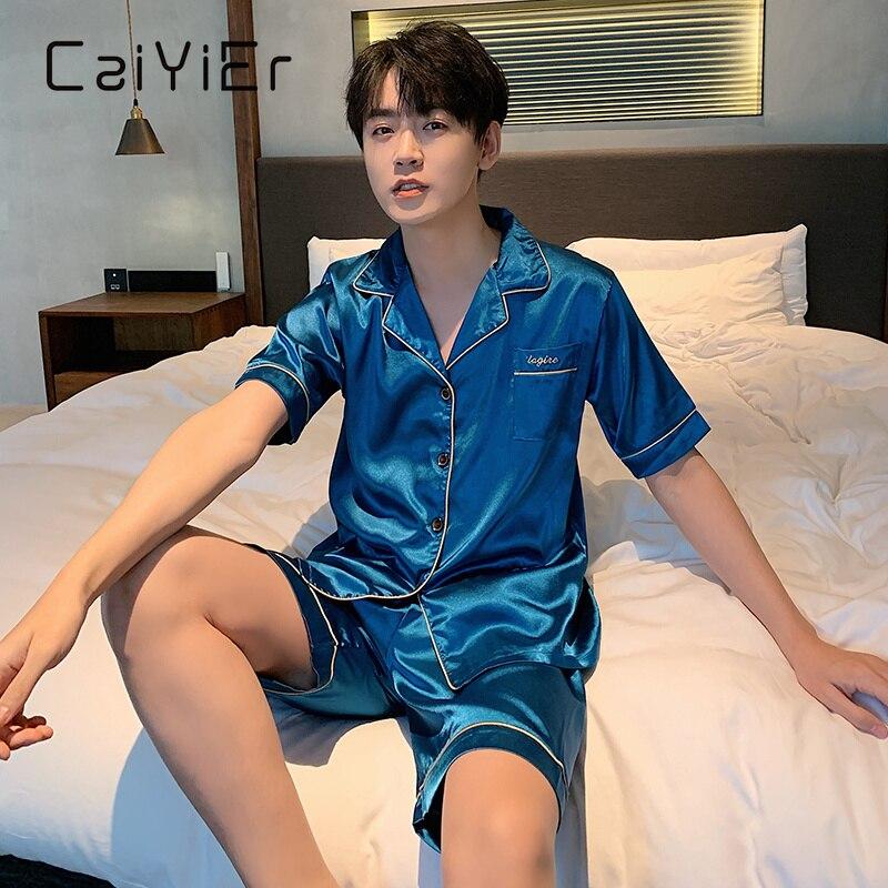 CAIYIER 2021 Лето Мужчины% 27 Атлас Лед Шелк Пижамы С короткими рукавами Шорты Комплект Однотонный Цвет Повседневный Свободный Большой Размер Вискоза Пижамы L-5XL