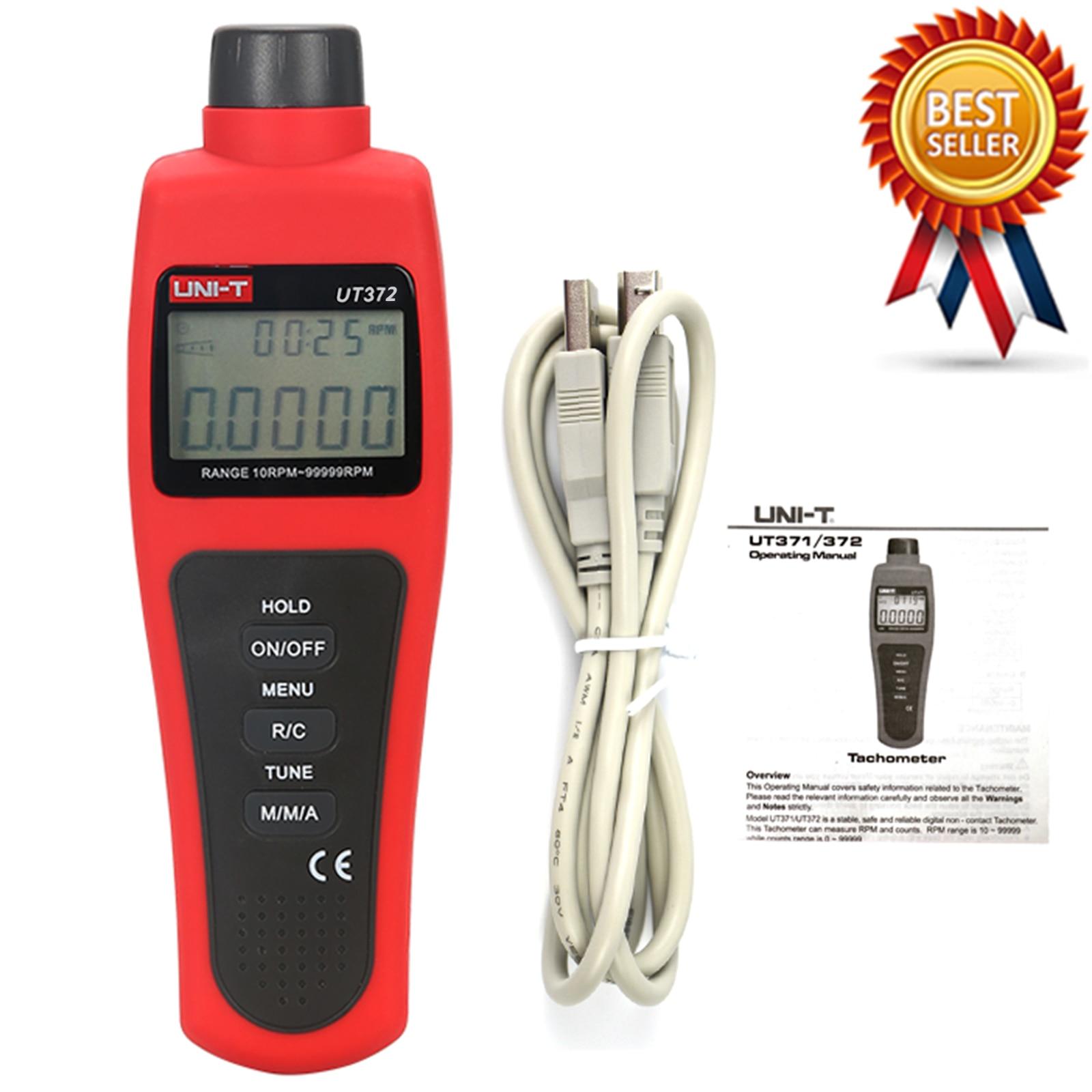 UNI-T UT372 عدم الاتصال مقاييس الدوران الهدف دورة في الدقيقة المدى 10 ~ 99999 ماكس/دقيقة/AVG اختبار المسافة 5 ~ 20 سنتيمتر USB واجهة