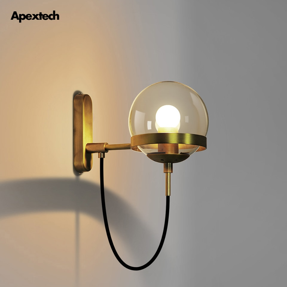 Retro Copper Wall Lamp Vintage Style E27 Wall Light Bedroom Retaurant Coffee Bar Porch Corridor Lights