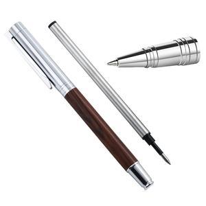 Vintage Wooden Ballpoint Pen 1.0mm Nib High Quality Black Ink Pen  Stationery Office School Supplies Gift Box Set