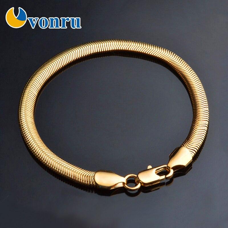 20cm pulsera de Color oro de la joyería de los hombres cadena con eslabones estilo serpiente pulseras 6mm hombre Hip Hop moda regalo de cadena de mano de pulsera para mujer