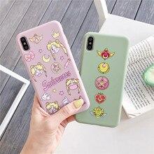 JAMULAR Anime japonés Kawaii Sailor Moon, funda de teléfono para iPhone 7 X XS MAX XR 8 6 6s Plus, funda trasera de silicona suave, bonita Capa, bolsa