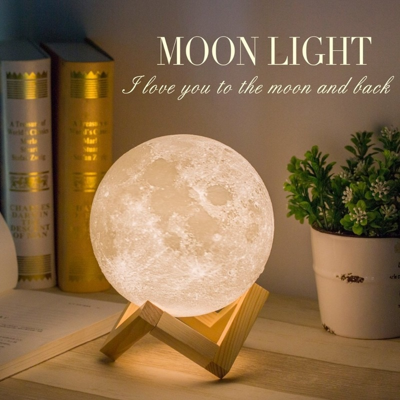 3D Print Moon Lamp Night Lights Touch Switch Control Change Indoor Bedroom Decoration Changeable LED