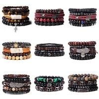 Набор браслетов из натурального Лабрадорита, браслет с бусинами, мужской браслет из черного лавового камня, браслет серебряного цвета с под...