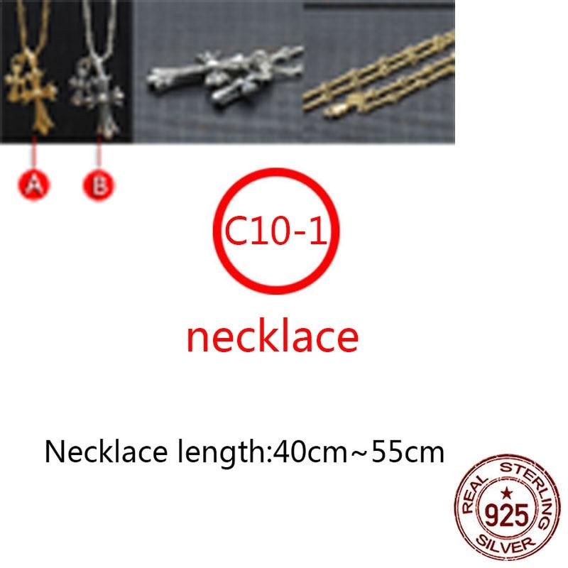 C10-1 s925 قلادة فضية الاسترليني شخصية الموضة عبر سلسلة بدلاية مطلية بالذهب الملتوية الشرير نمط جديد حار