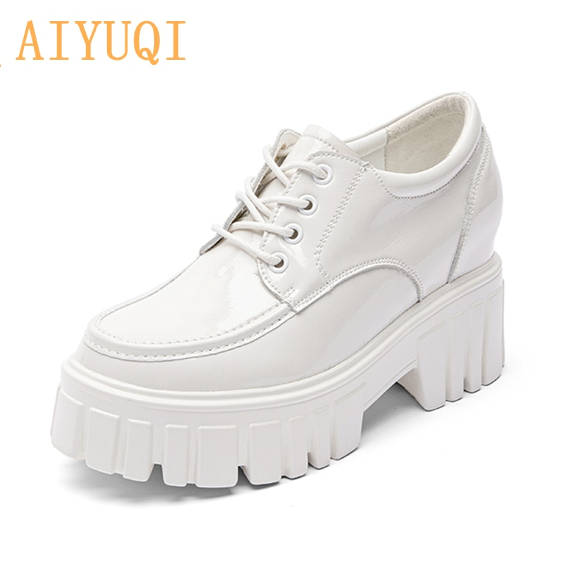 AIYUQI Women Oxford Shoes Spring 2021 New Genuine Leather Thick-soled Comfortable Platform With British Style Women Shoes