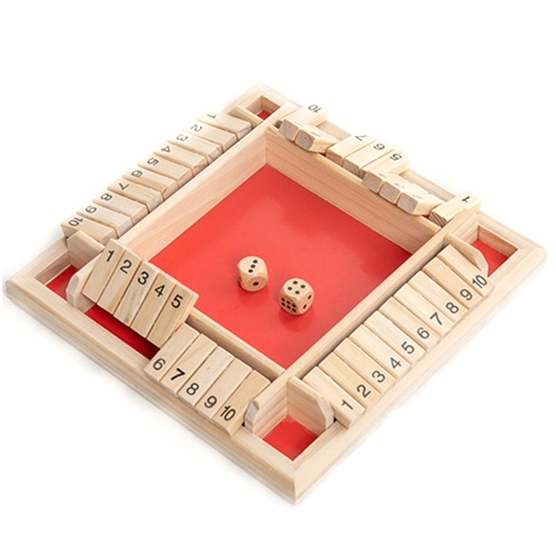 4 Player Shut The Box Wooden Table Board Game Family Traditional Game Dice Toy large mahjong portable wooden boxes set table game mah jong travelling board game indoor antique leather box english manual