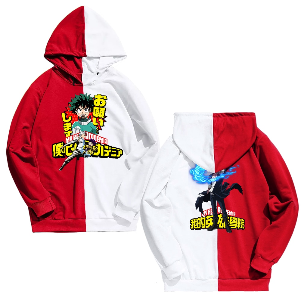 2017 newest red white black colors mountain Newest Arrival Men/Women Colorblock Red&White Colors HoodieMy hero academia Printing Hoodies Harajuku Hip Hop Thin Clothing.