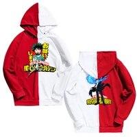 newest arrival menwomen colorblock redwhite colors hoodiemy hero academia printing hoodies harajuku hip hop thin clothing