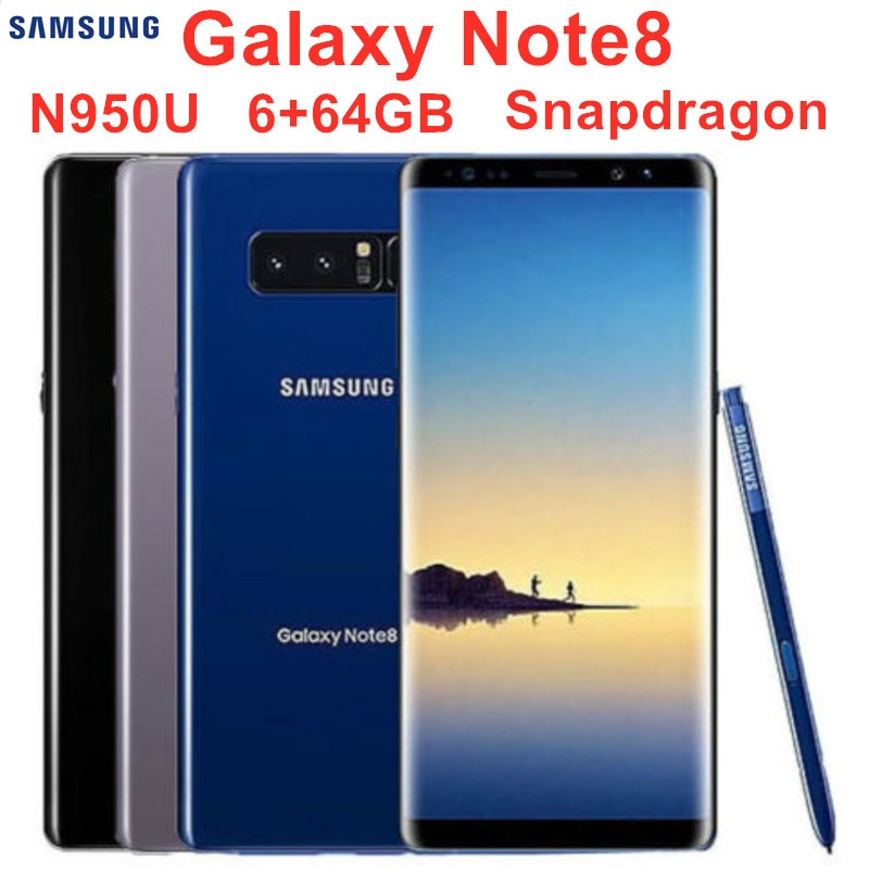 "Samsung Galaxy Note8 Nota 8 N950U Original desbloqueado LTE móvil Android Octa Core 6,3 ""Dual 12MP 6G RAM 64G ROM Snapdragon 835"