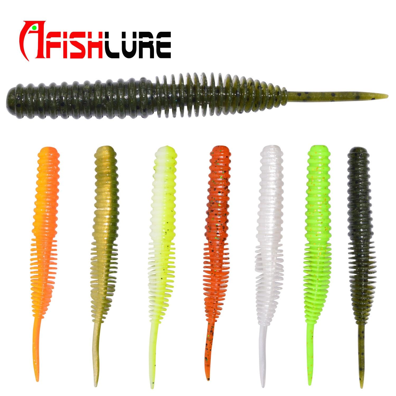 Soft Lure 100mm 4.5g Plastic Maggot Fishing Bait Esfishing Worms Bass Fishing Lure Artificial Bait Wacky Fishing 5pcs/lot