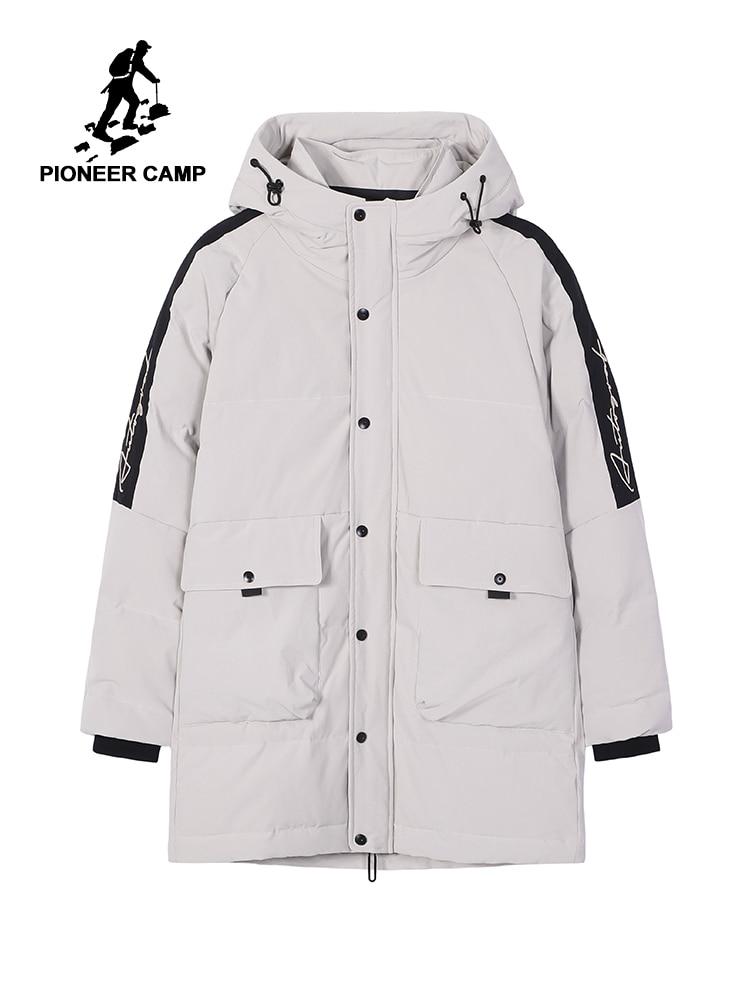Chaqueta blanca de campo Pioneer de invierno con capucha gruesa cazadora con cremallera de burbuja Parka para Canadá Rusia hombre Anorak AMF908172