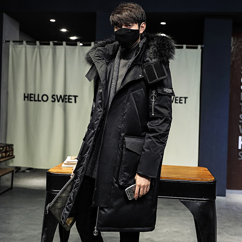 Фото - Winter Men Jacket Coat Hooded Warm Lengthen Parka Coat White Duck Down New Winter Down Coat Men Jacket Winter  Puffer Jacket Men covrlge trendy hooded men s white duck down jacket stand collar embroidered down jacket men winter warm causal coat us mwy034