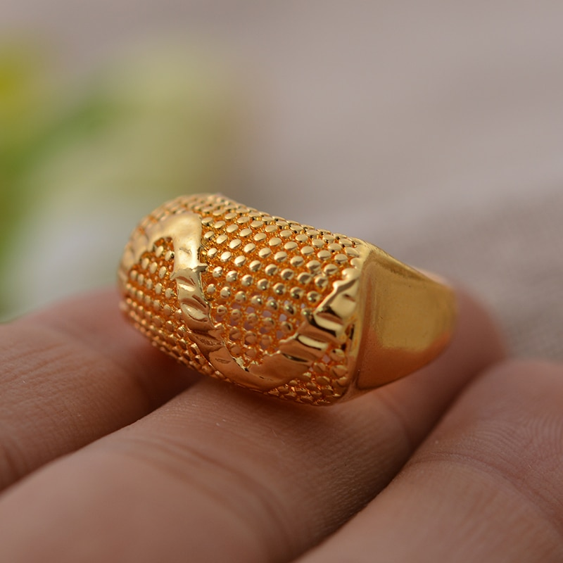 24K Dubai anillo de Color oro para mujeres tienen anillo de personalidad para Mujeres Hombres oro Color encanto fiesta Joyería Árabe Africano artículos