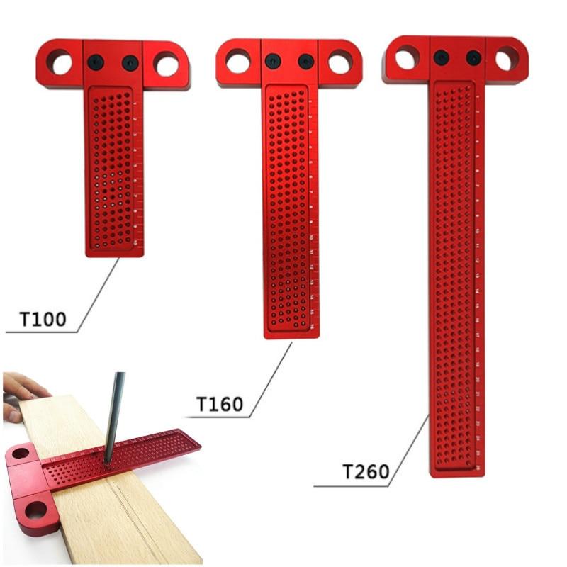 Escriba de madeira tipo t 260mm, escriba e régua de buraco de alumínio crosped pés ferramenta de medição ferramenta,