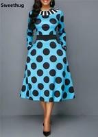 long sleeve autumn dress women 2019 elegant vintage sexy ball gown long party dress casual slim dot pocket dresses