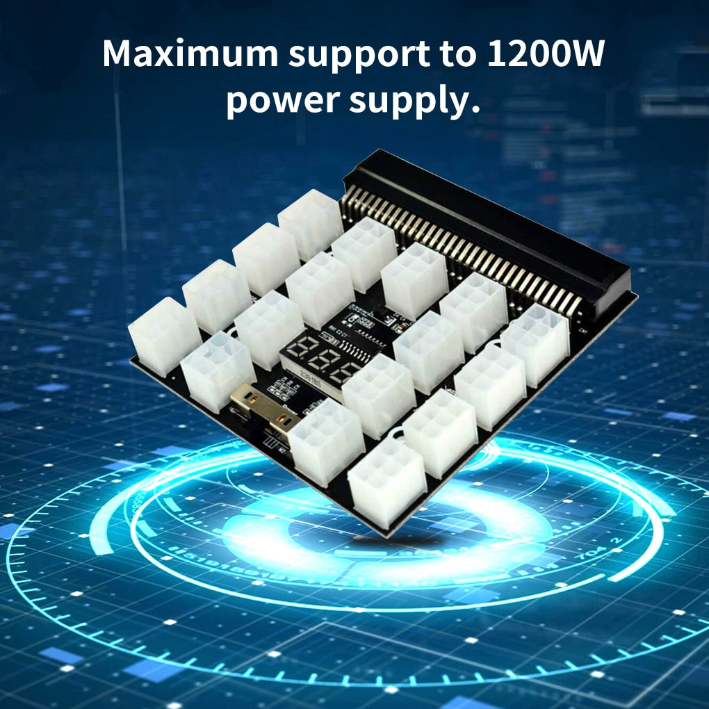 power module breakout board for hp 750w 1200w psu server power conversion 12pcs 6pin to 8pin 18awg power cable for btc PCI-E 17x 6Pin Power Supply Breakout Board Adapter Converter 12V for Ethereum BTC Antminer Miner Mining HP Server PSU GPU