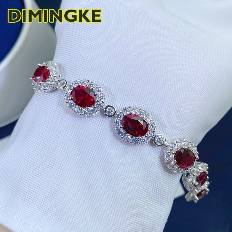 Review DIMINGKE 6*8MM 10 Natural Ruby Bracelets 17CM S925 Silver Jewelry Anniversary Birthday Party Woman Gift